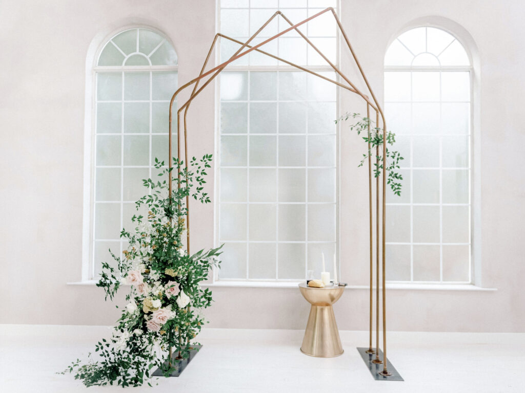 Wedding Altar with Hanging Florals