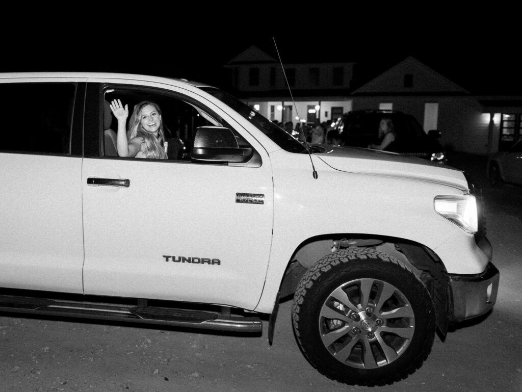 Wedding Couple Driving Off